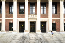 Young Woman On The Steps Of Harvard University Library