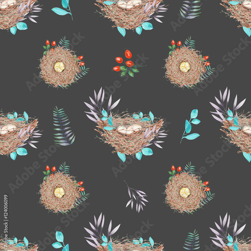 Cotton fabric Seamless pattern with watercolor bird nests with eggs, in plants and berries, hand drawn isolated on a dark background