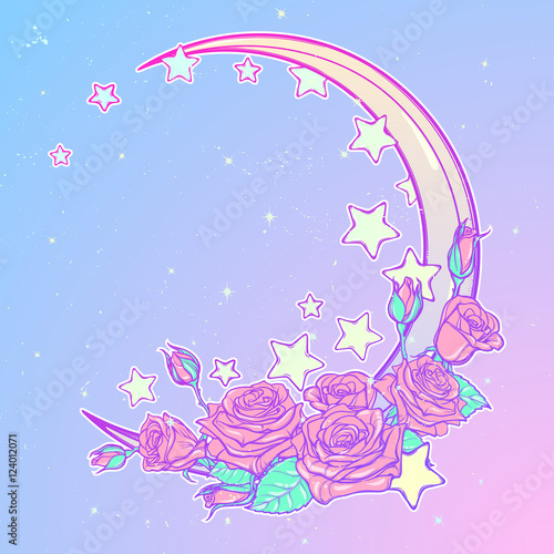 Photo  Kawaii Night sky composition with Roses bouquet, stars and moon crescent