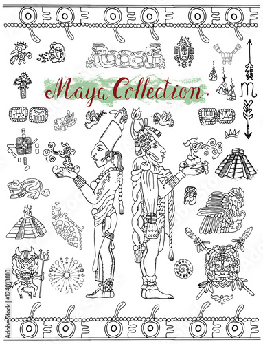 Set With Mayan Mystic Symbols Icons And Indian People Buy This