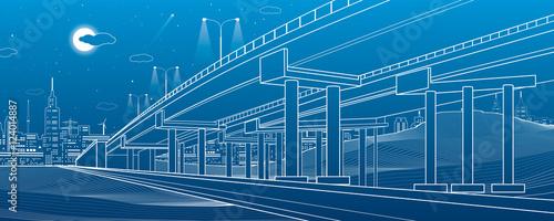 Fotografia Automotive overpass, architectural and infrastructure illustration, transport fl