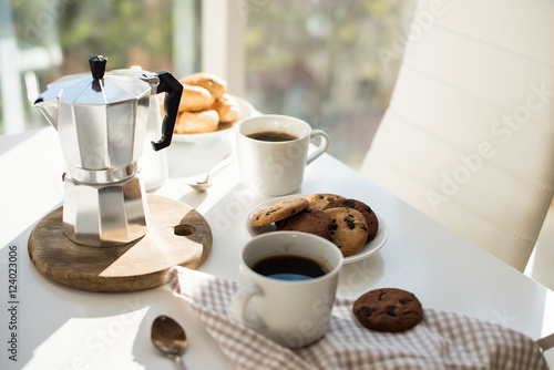 Fotografie, Obraz  Early morning french home breakfast with coffee