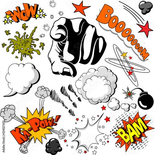 In de dag Sprookjeswereld Comic Book design elements