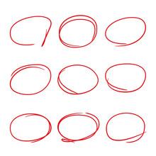 Red Highlight Pen Circle Set