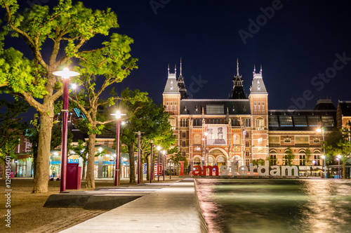 Deurstickers Amsterdam Rijksmuseum Amsterdam museum with words I Amsterdam, Netherlands