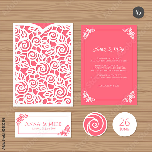 Wedding invitation or greeting card with floral ornament paper lace wedding invitation or greeting card with floral ornament paper lace envelope template wedding invitation m4hsunfo