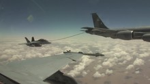 F/A-18 Fighter Jet Refuels During Flight.