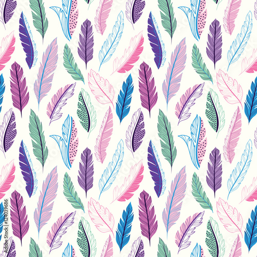 Fotografie, Obraz  Feathers seamless pattern