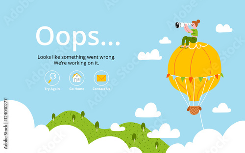 Fotografie, Obraz  Oops error page with hot air balloon