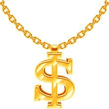 Gold Dollar Symbol On Golden C...