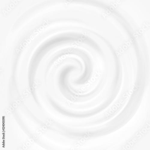 Obraz na plátně  White milk, yogurt, cosmetics product swirl cream vector illustration