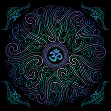 Chaotic Blue And Green Circular Floral Pattern, Decorative Elements Corners And Sacred Symbol Om, Vector