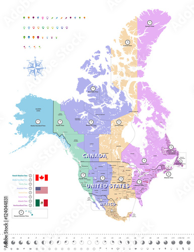 Canada, United States and Mexico time zones map. All ...