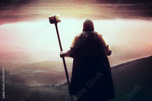 Cuadros en Lienzo medieval Templar knight looking for holy grail