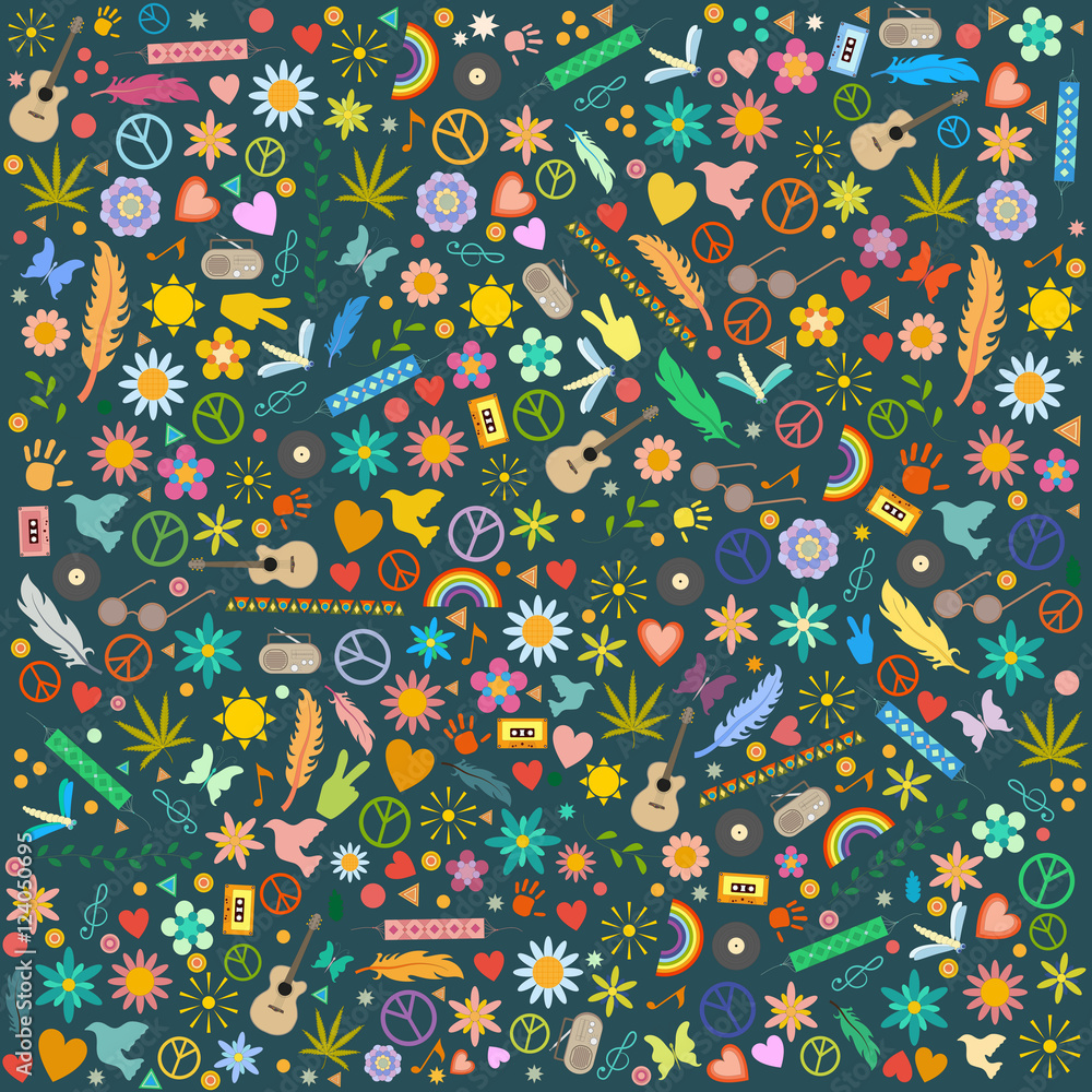 vector pattern of hippie symbols