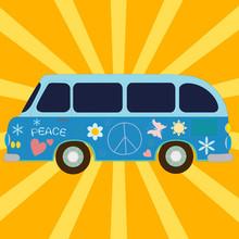 Vintage Van Painted Of Hippie Symbols
