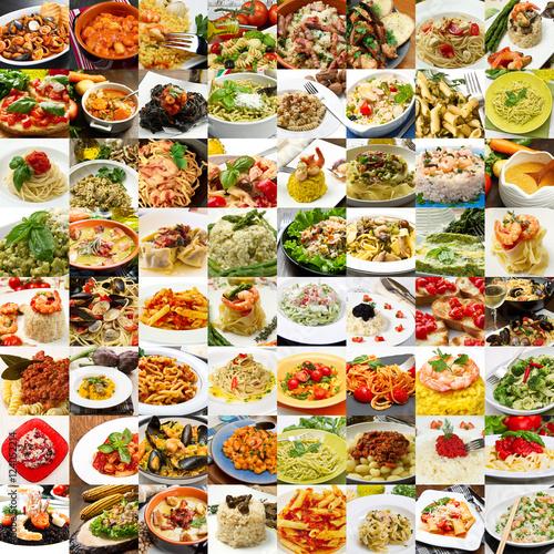 collage di differenti primi piatti della cucina italiana ...