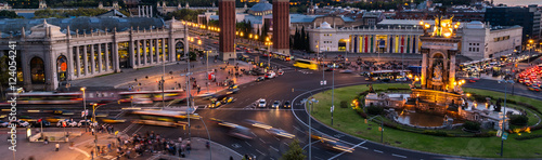 Photo Stands Barcelona Spanish Square aerial view in Barcelona