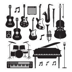 Jazz Music Instruments Silhouette Objects Set, Black and White Symbol and Ico...