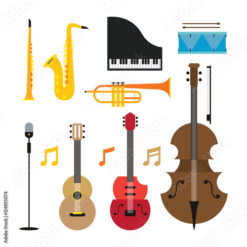 Jazz Music Instruments Objects Set Flat Design Symbol And Icons