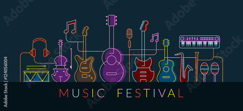 Music Instruments Objects Background, Line Design, Festival, Event, Live, Concert - 124056004