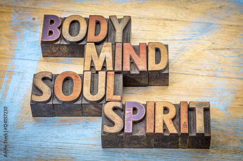 Stampa su Tela  body, mind, soul and spirit word abstract