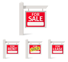 Real Estate Signs, Red Plate With A Field For Notes On The Pole.
