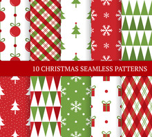 Ten Christmas Different Seamless Patterns.