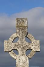 Celtic Christian Cross In A Cemetery; County Cork, Ireland
