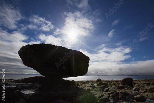 Balance Rock A Natural Wonder On Haida Gwaii Located In Northern British Columbia; British Columbia, Canada