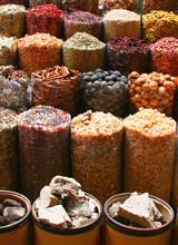 Display Of Various Food Items At A Market; Dubai, United Arab Emirates