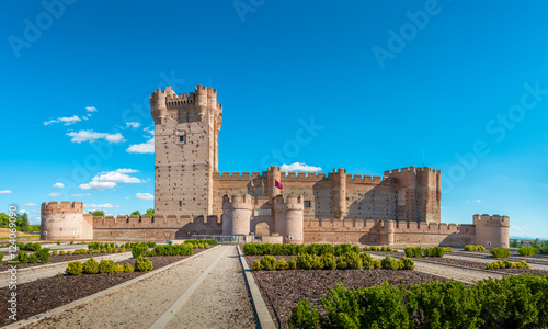 Panoramic view of the famous castle Castillo de la Mota in Medina del Campo, Valladolid, Spain. This reconstructed medieval fortress is currently declared as Spanish Heritage of Cultural Interest.