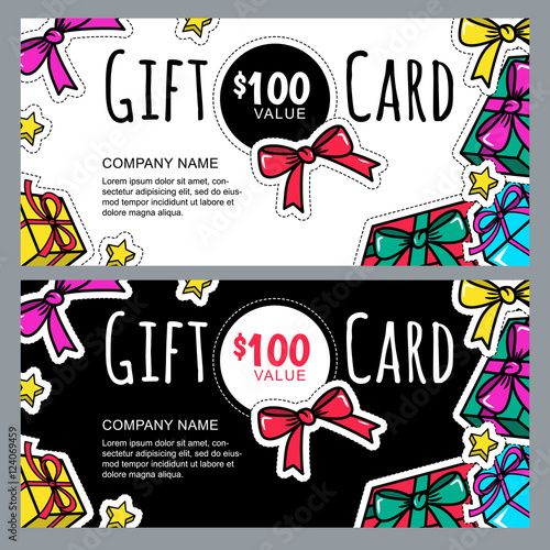 Vector gift voucher template with gift box patches and stickers vector gift voucher template with gift box patches and stickers christmas or new year holidays stopboris Choice Image