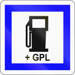 canvas print picture - Road sign used in France - Petrol station with LPG
