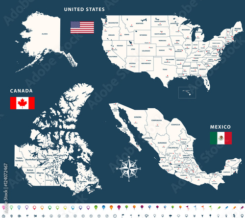 Vector maps of Canada, United States and Mexico with flags and ...