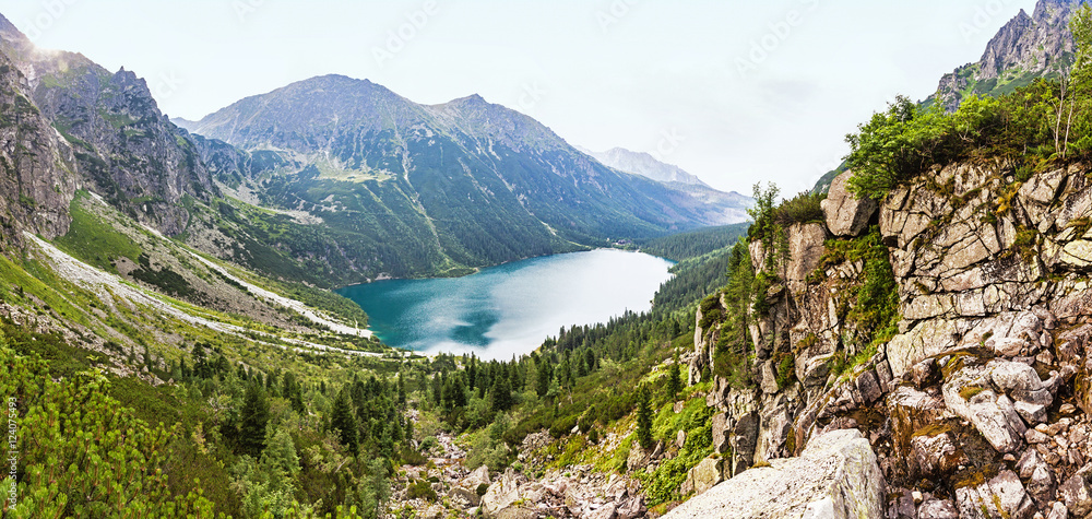 Panoramic view of Morskie Oko lake, High Tatras, Poland