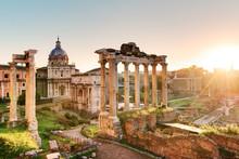 Roman Forum At Sunrise, Italy