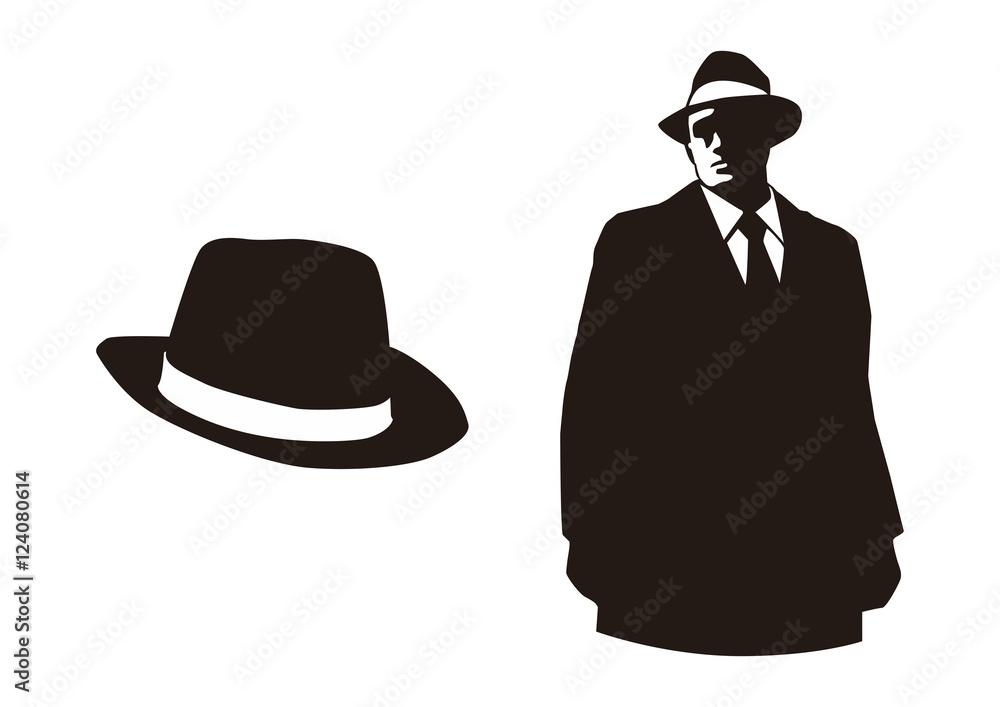 Fototapeta mafia and their hat silhouette design