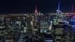 New York City Skyline Manhattan Buildings Night Timelapse