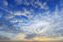 Beautiful Yellow Blue Sunset Sky With Sunlight And Cloud
