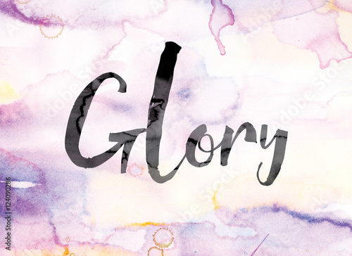 Valokuva  Glory Colorful Watercolor and Ink Word Art