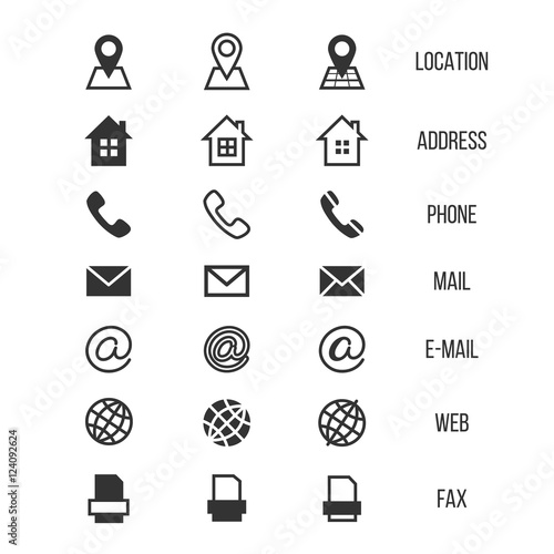 business card vector icons  home  phone  address  telephone  fax  web  location symbols