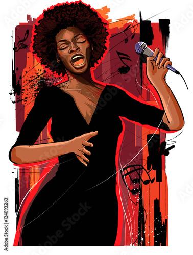 Photo sur Toile Art Studio afro american jazz singer on grunge background