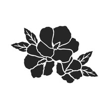 Rose Of Sharon Icon In  Black Style Isolated On White Background. South Korea Symbol Stock Vector Illustration.