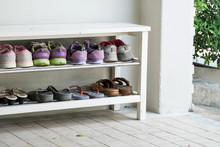 Outdoor Shoe Rack And 8 Pairs Of Visitor Shoes