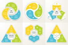 Collection Of Infographic Templates For Business. Three Steps Cycling Diagrams. Vector Illustration.