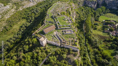 Foto op Aluminium Rudnes Aerial view of the ruins of the Cherven medieval fortress near Rousse, Bulgaria