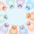 card template, funny green blue pink orange fat cats, pastel colors on white background. Vector