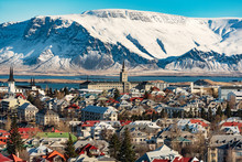 Panoramic View Of Reykjavik At...