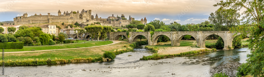 Fototapeta Panoramic view at the Old City of Carcassonne with Old Bridge over L Aude river - France